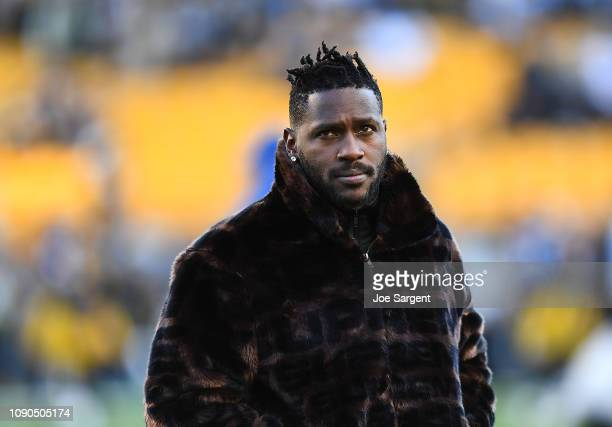 Antonio Brown of the Pittsburgh Steelers looks on during warmups prior to the game against the Cincinnati Bengals at Heinz Field on December 30 2018...