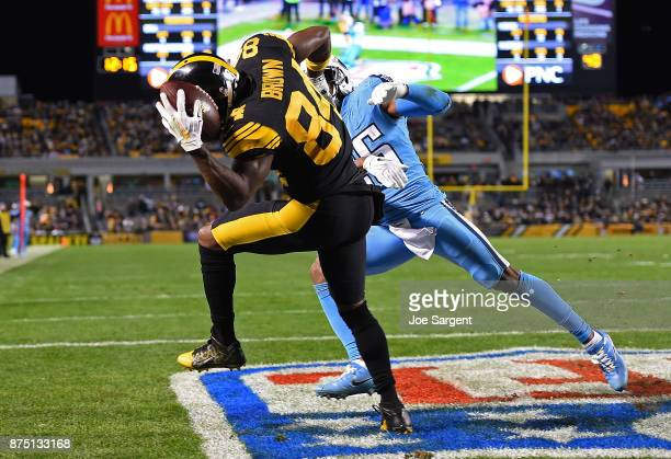 Antonio Brown of the Pittsburgh Steelers makes a catch for a 10yard touchdown reception in front of Logan Ryan of the Tennessee Titans in the fourth...