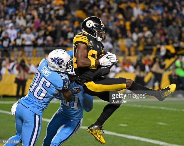Antonio Brown of the Pittsburgh Steelers makes a catch in front of LeShaun Sims of the Tennessee Titans for a 41 yard touchdown reception in the...