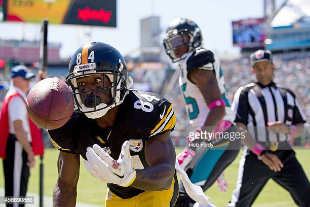 Antonio Brown of the Pittsburgh Steelers misses a catch out of bounds during the second quarter of the game against the Jacksonville Jaguars at...
