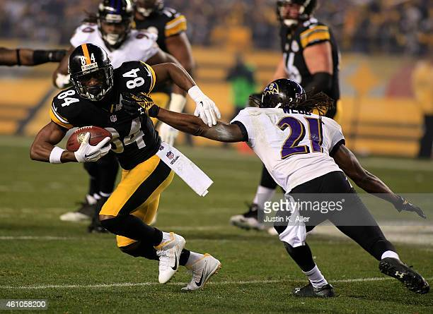 Antonio Brown of the Pittsburgh Steelers plays against the Baltimore Ravens during the Wild Card game on January 3 2015 at Heinz Field in Pittsburgh...