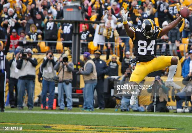 Antonio Brown of the Pittsburgh Steelers reacts after a 1 yard touchdown reception during the second quarter in the game against the Cleveland Browns...