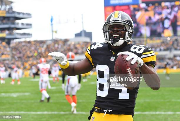 Antonio Brown of the Pittsburgh Steelers reacts after a 43 yard touchdown reception during the second quarter in the game against the Cleveland...