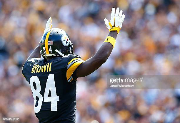 Antonio Brown of the Pittsburgh Steelers reacts following a touchdown by teammate DeAngelo Williams in the fourth quarter against the San Francisco...