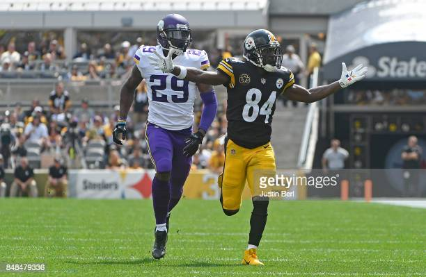 Antonio Brown of the Pittsburgh Steelers reacts to a pass interference call in the first quarter during the game against the Minnesota Vikings at...