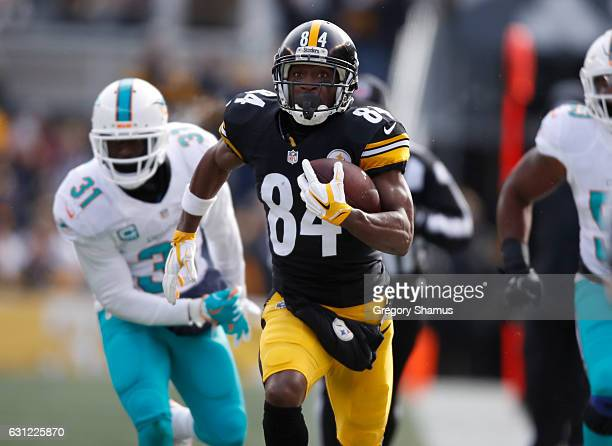 Antonio Brown of the Pittsburgh Steelers runs down the sideline to score a touchdown after catching a pass from Ben Roethlisberger against the Miami...