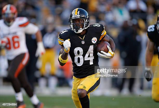 Antonio Brown of the Pittsburgh Steelers runs the ball in for a 56yard touchdown in the 4th quarter of the game against the Cleveland Browns at Heinz...