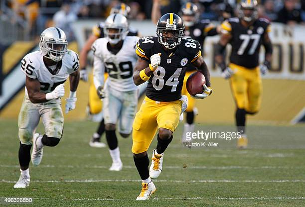 Antonio Brown of the Pittsburgh Steelers runs the ball in the 4th quarter of the game against the Oakland Raiders at Heinz Field on November 8 2015...