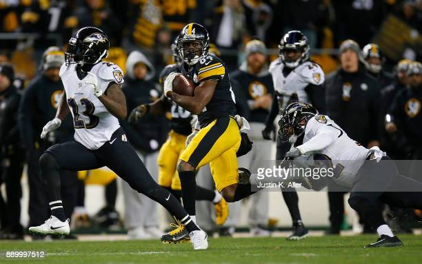 Antonio Brown of the Pittsburgh Steelers runs up field after a catch in the second half during the game against the Baltimore Ravens at Heinz Field...