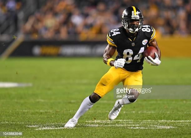 Antonio Brown of the Pittsburgh Steelers runs upfield after a catch in the first half during the game against the Baltimore Ravens at Heinz Field on...