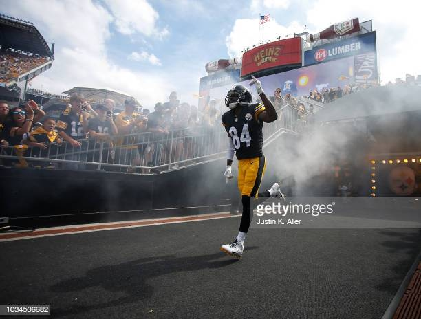 Antonio Brown of the Pittsburgh Steelers takes the field during player introductions before the game against the Kansas City Chiefs at Heinz Field on...
