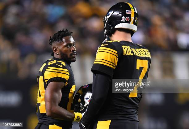 Antonio Brown of the Pittsburgh Steelers talks with Ben Roethlisberger during the game against the Carolina Panthers at Heinz Field on November 8...