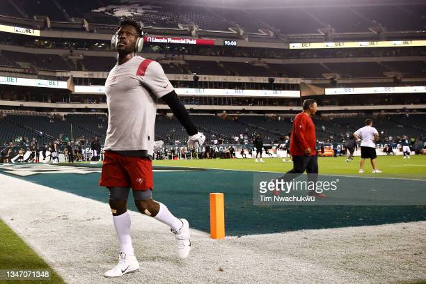 Antonio Brown of the Tampa Bay Buccaneers warms up before playing against the Philadelphia Eagles at Lincoln Financial Field on October 14, 2021 in...