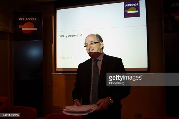Antonio Brufau chief executive officer of Repsol YPF SA pauses during a news conference at the Repsol YPF SA headquarters in Madrid Spain on Tuesday...