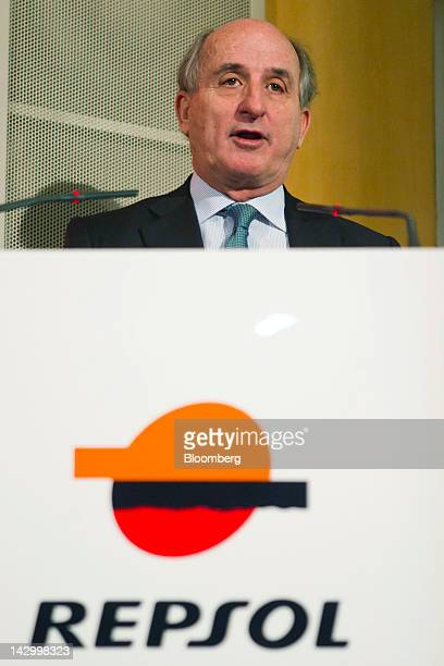 Antonio Brufau chief executive officer of Repsol YPF SA speaks during a news conference at the Repsol YPF SA headquarters in Madrid Spain on Tuesday...