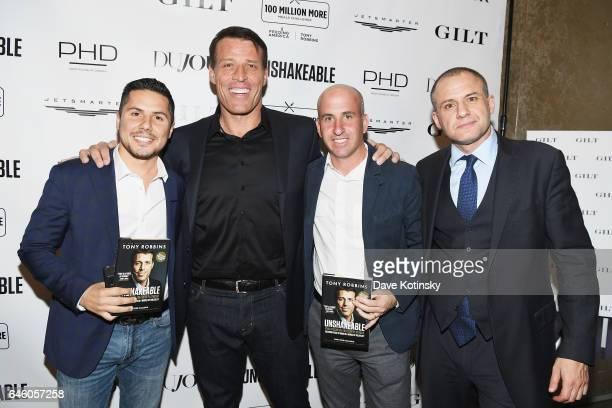 "Antonio Caballero, Tony Robbins, Jonathan Greller and Ronn Torossian attend Tony Robbins' Birthday celebration and book launch of ""UNSHAKEABLE""..."