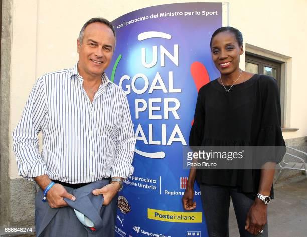 Antonio Cabrini and Fiona May attend 'Un Goal per l'Italia' Charity Event on May 22 2017 in Norcia Italy