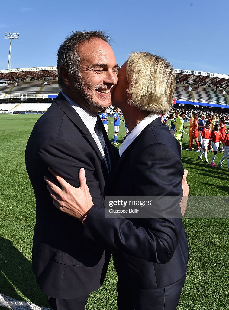 Antonio Cabrini, head coach of Italy and Martina Voss-Tecklenburg, head coach of Switzerland before the UEFA Women's Euro 2017 Qualifier between Italy and Switzerland at Dino Manuzzi Stadium on October 24, 2015 in Cesena, Italy.
