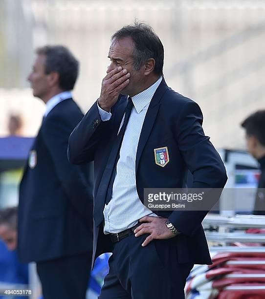 Antonio Cabrini head coach of Italy during the UEFA Women's Euro 2017 Qualifier between Italy and Switzerland at Dino Manuzzi Stadium on October 24...
