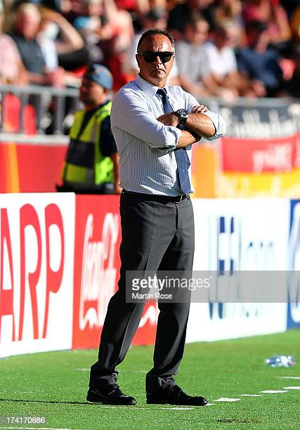 Antonio Cabrini head coach of Italy reacts during the UEFA Women's Euro 2013 quarter final match between Italy and Germany at Vaxjo Arena on July 21...
