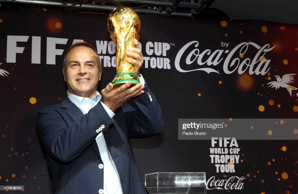 Antonio Cabrini holds the FIFA World Cup Trophy at a party during day two of the FIFA World Cup Trophy Tour on February 20, 2014 in Rome, Italy.
