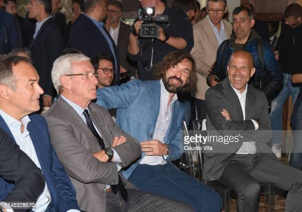 Antonio Cabrini, Marcello Lippi, Andrea Pirlo and Luigi Di Biagio attend Special Teams Legends Onlus Press Conference on May 21, 2019 in Milan, Italy.