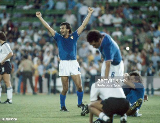 Antonio Cabrini of Italy celebrates after the FIFA World Cup Final between Italy and West Germany at the Bernabéu Stadium on July 11 1982 in Madrid...