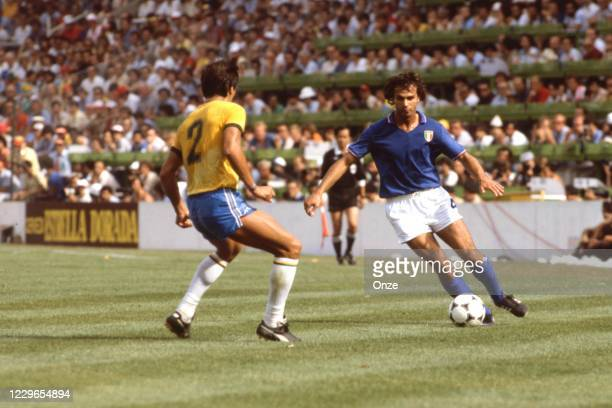 Antonio Cabrini of Italy during the second stage of the 1982 FIFA World Cup match between Italy and Brazil, at Sarria Stadium, Barcelona, Spain on 5...