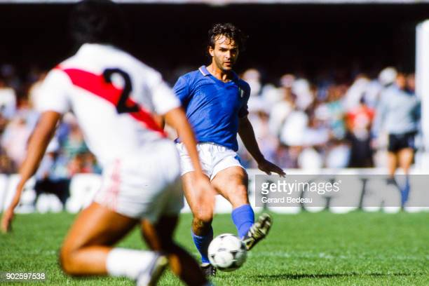Antonio Cabrini of Italy during the World Cup match between Italy and Peru at Balaidos Stadium Vigo Spain on 18h June 1982