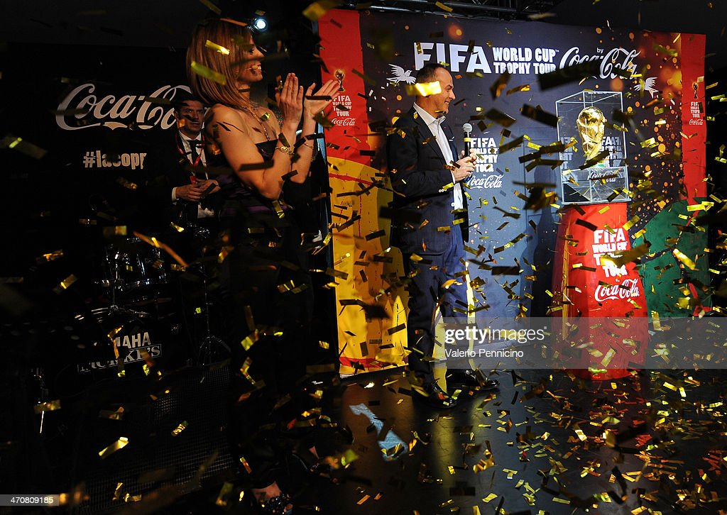 Antonio Cabrini unveils the FIFA World Cup Trophy at a party during day two of the FIFA World Cup Trophy Tour on February 20, 2014 in Rome, Italy.