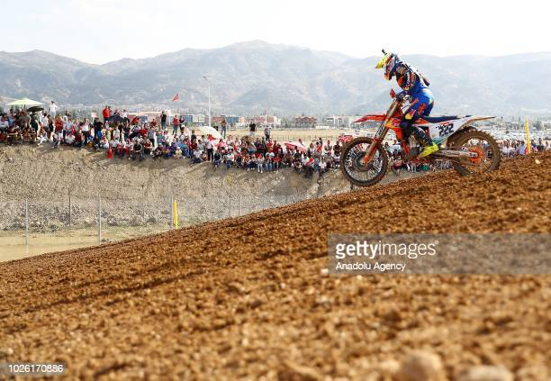 Antonio Cairoli competes in the second race of Motocross World Championship MXGP in Afyonkarahisar Turkey on September 02 2018
