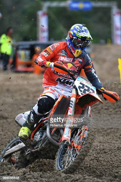 PANGKALPINANG BANGKA INDONESIA JULY 01 Antonio Cairoli of Red Bull KTM Factory Racing Team in action during the MXGP Warmup Race on day two of the...