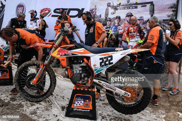 PANGKALPINANG BANGKA INDONESIA JUNE 30 Antonio Cairoli of Red Bull KTM Factory Racing Team prepares his bike during MXGP Qualifying race on day one...