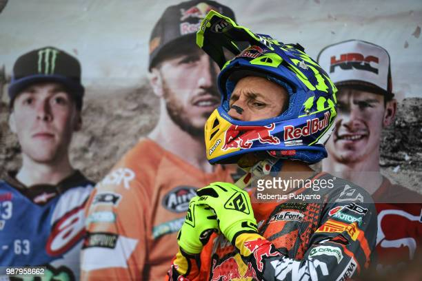 PANGKALPINANG BANGKA INDONESIA JUNE 30 Antonio Cairoli of Red Bull KTM Factory Racing Team wears a helmet during MXGP Qualifying race on day one of...
