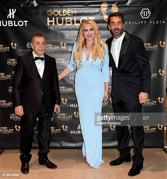 Antonio Caliendo Alessandra Canale and Gianluigi Buffon attend the Golden Foot Award gala dinner on October 11 2016 in Monaco Monaco