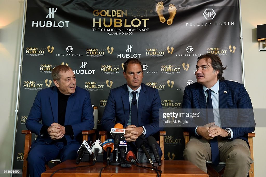 Antonio Caliendo, Frank de Boer and Pierluigi Pardo attend a press conference during the Golden Foot 2016 Award Ceremony on October 11, 2016 in Monaco, Monaco.