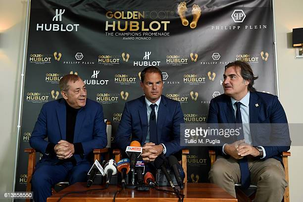 Antonio Caliendo Frank de Boer and Pierluigi Pardo attend a press conference during the Golden Foot 2016 Award Ceremony on October 11 2016 in Monaco...