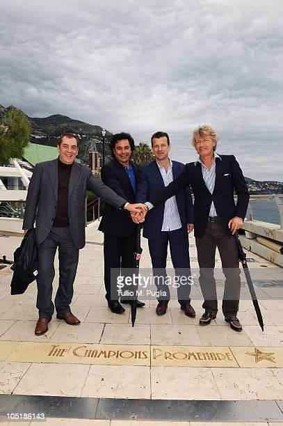 Antonio Caliendo, Hugo Sanchez, Carlos Dunga and Giancarlo Antognoni pose on The Champions Promenade before the Golden Foot Awards ceremony at...