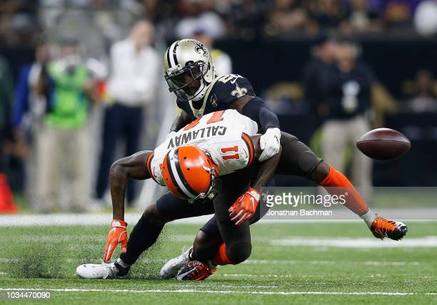 Antonio Callaway of the Cleveland Browns is tackled by Ken Crawley of the New Orleans Saints during the fourth quarter at MercedesBenz Superdome on...