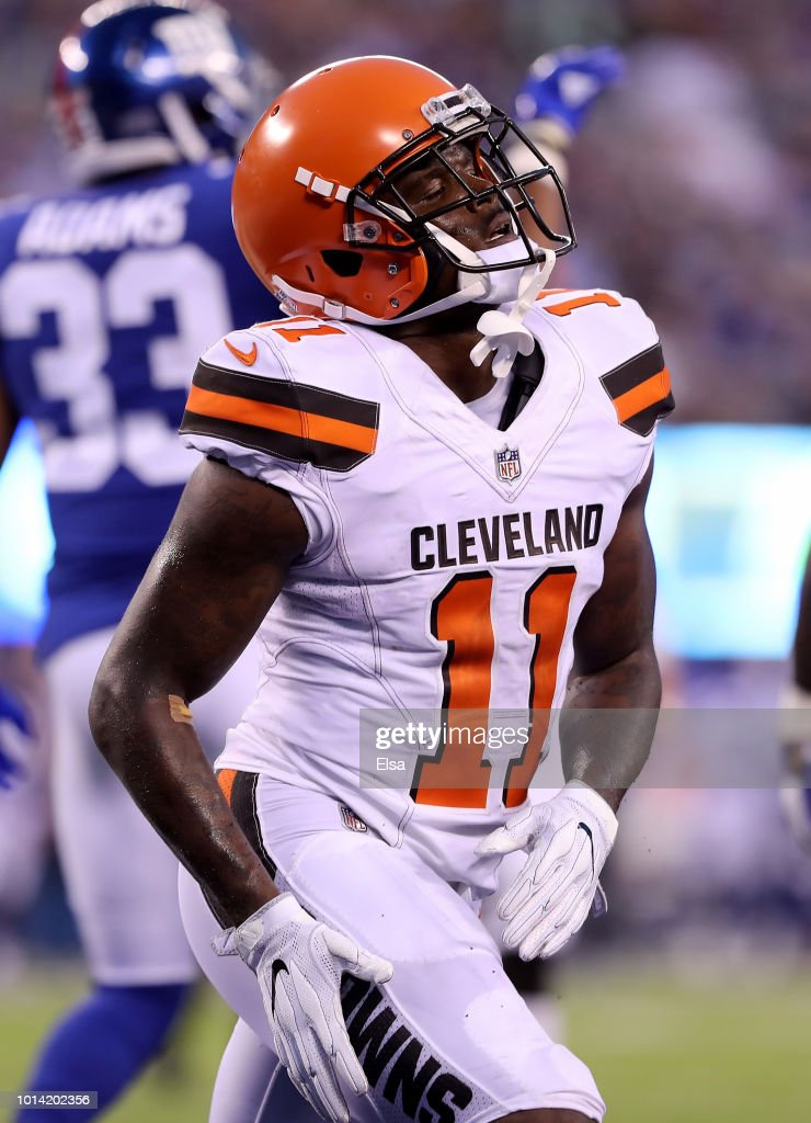 Antonio Callaway #11 of the Cleveland Browns reacts after missing the catch in the two point conversion in the first half against the New York Giants during their preseason game on August 9,2018 at MetLife Stadium in East Rutherford, New Jersey.
