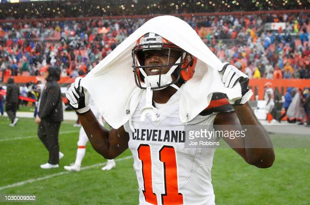 Antonio Callaway of the Cleveland Browns walks off the field after a 2121 tie against the Pittsburgh Steelers at FirstEnergy Stadium on September 9...