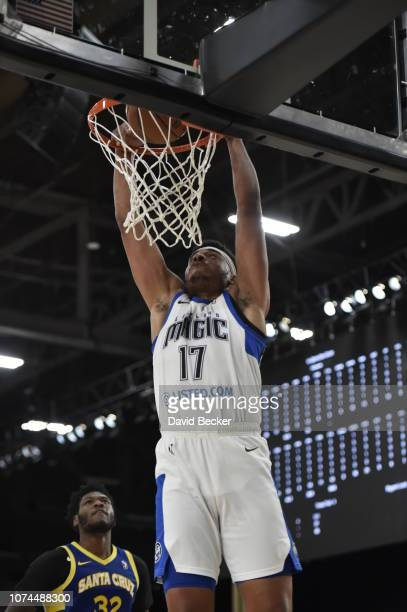 Antonio Campbell of the Lakeland Magic dunks against the Santa Cruz Warriors during the NBA G League Winter Showcase on December 20, 2018 at Mandalay...
