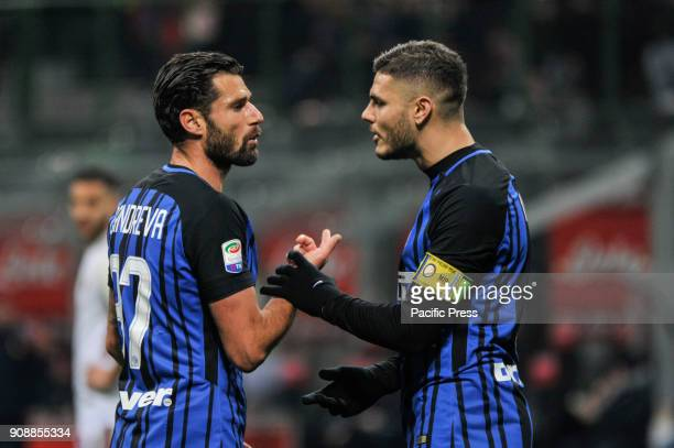 Antonio Candreva and Mauro Icardi of FC Inter during Serie A football FC Inter versus AS Roma FC inter and AS Roma finish the match 11