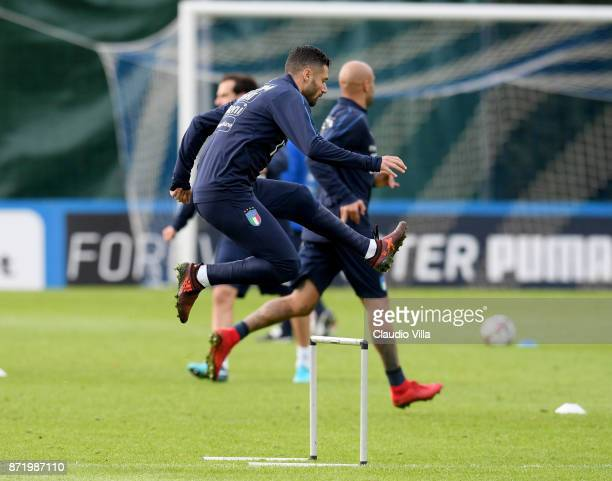 Antonio Candreva in action during the training session at Italy club's training ground at Coverciano on November 9 2017 in Florence Italy