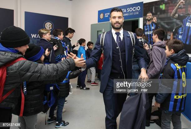 Antonio Candreva of FC Internazionale arrives prior to the Serie A match between FC Internazionale and Torino FC at Stadio Giuseppe Meazza on...