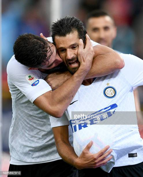 Antonio Candreva of FC Internazionale celebrates after scoring the second goal of his team during the serie A match between Bologna FC and FC...