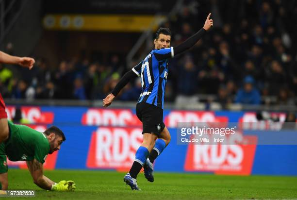 Antonio Candreva of FC Internazionale celebrates after scoring the opening goal during the Coppa Italia Quarter Final match between FC Internazionale...