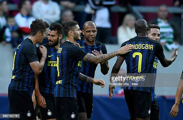 Antonio Candreva of FC Internazionale celebrates after scoring the second goal during the International Champions Cup match between FC Internazionale...