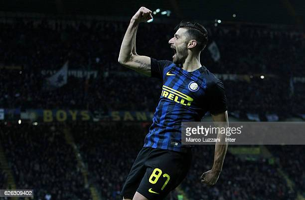Antonio Candreva of FC Internazionale celebrates after scoring the second goal during the Serie A match between FC Internazionale and ACF Fiorentina...