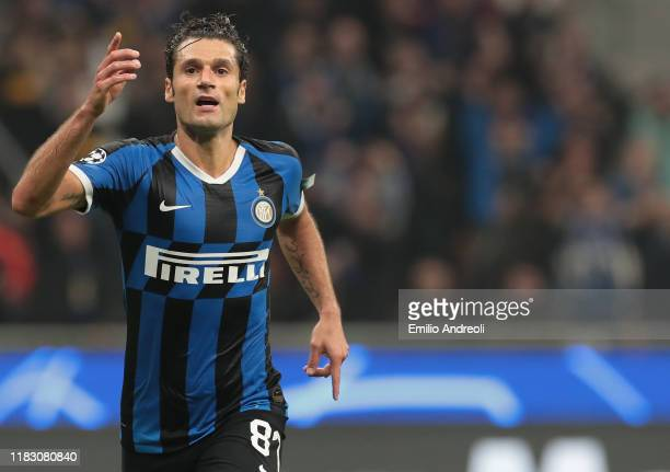 Antonio Candreva of FC Internazionale celebrates his goal during the UEFA Champions League group F match between FC Internazionale and Borussia...